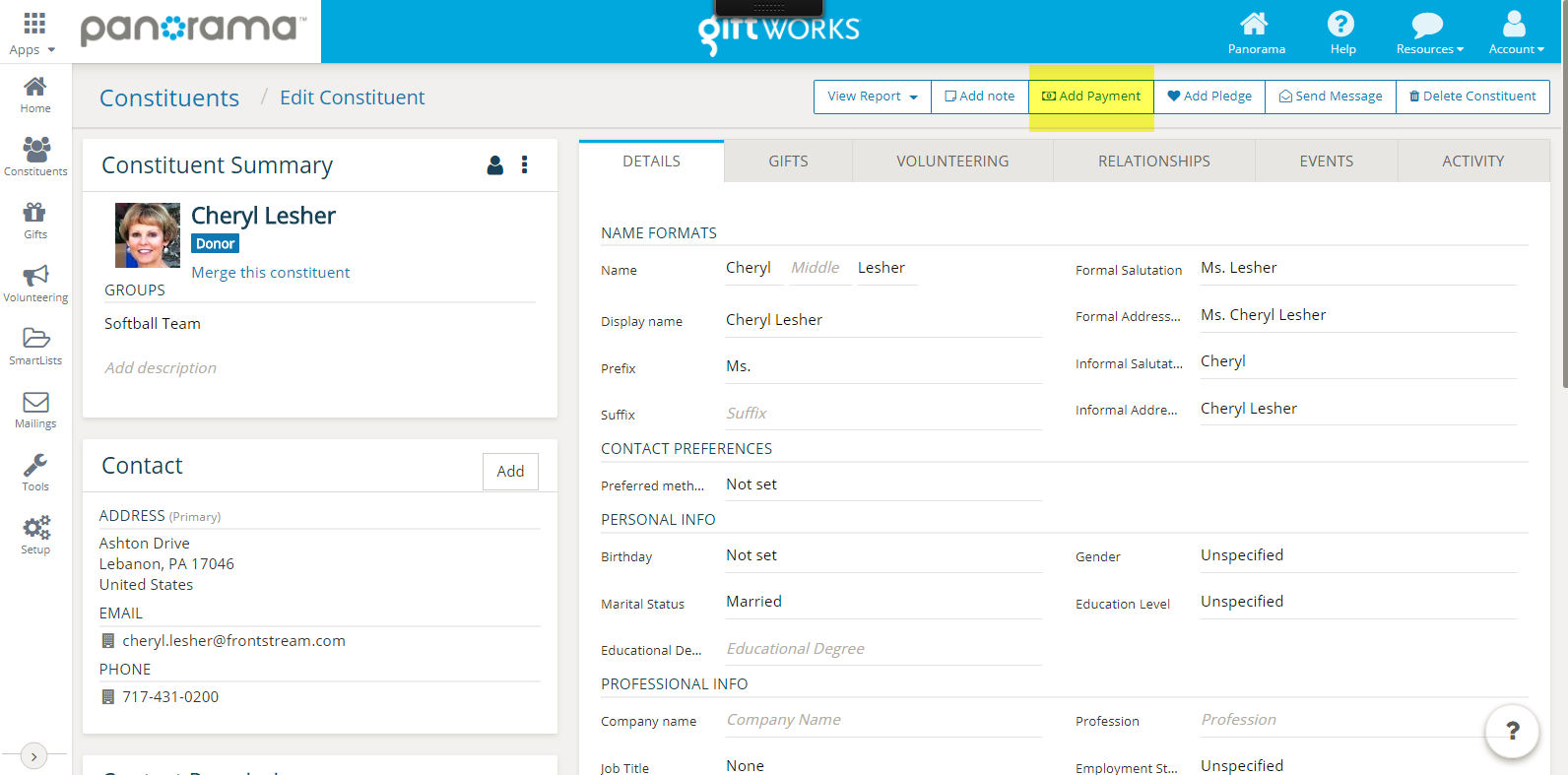 Or You Can Click The Gifts Section Of GiftWorks Cloud And Select Add Payment On Top Right