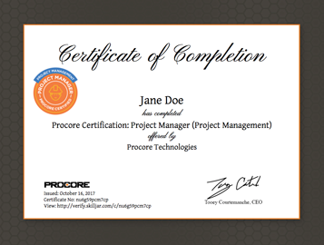 Procore Certification Project Manager At Gc Project