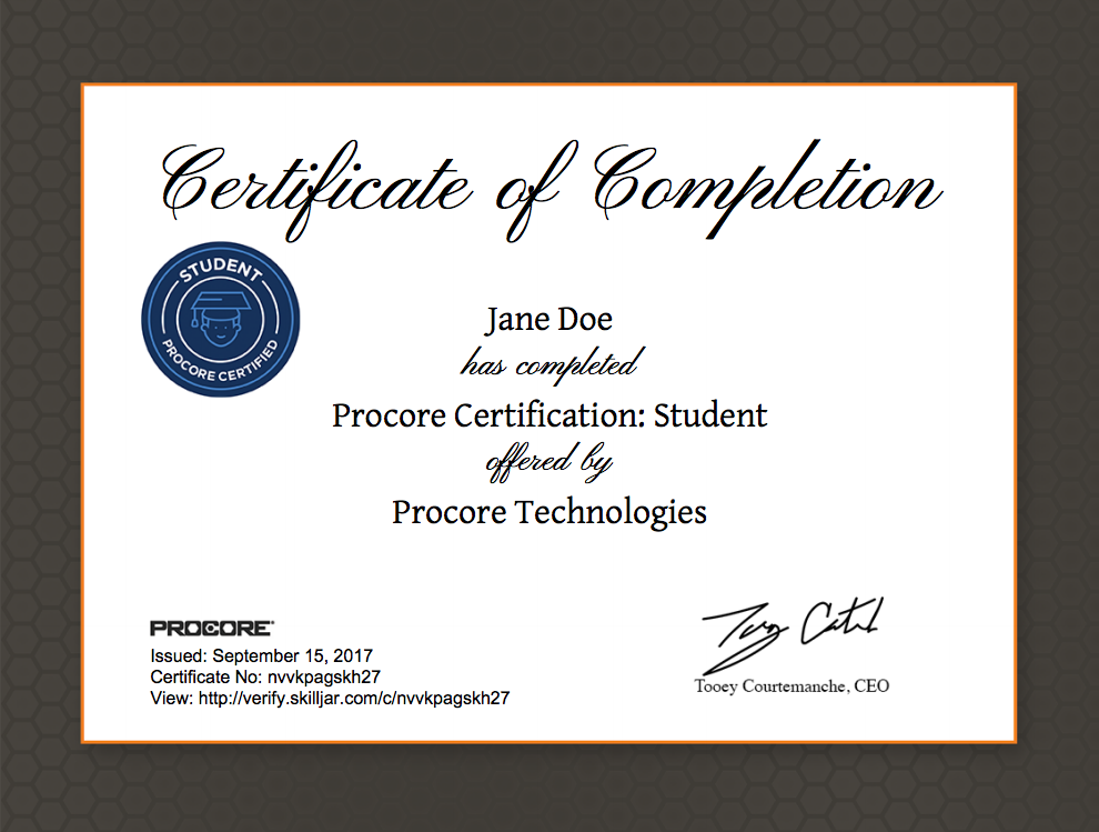 Procore Certification Student