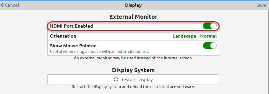 External monitor