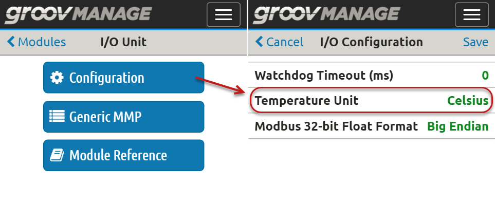 I/O Unit Temperature Configuration