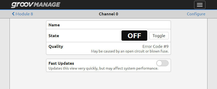 Quality field with error message