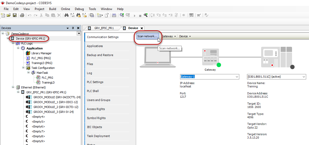 Using the DemoCodesys project Example with Ladder Logic